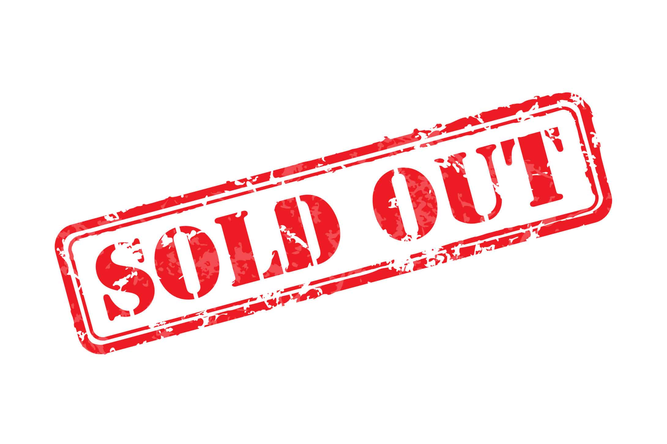 Sold out rubber stamp icon